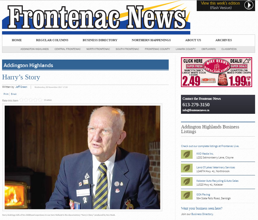 Harry's Story - Frontenac News Nov 2017 Article
